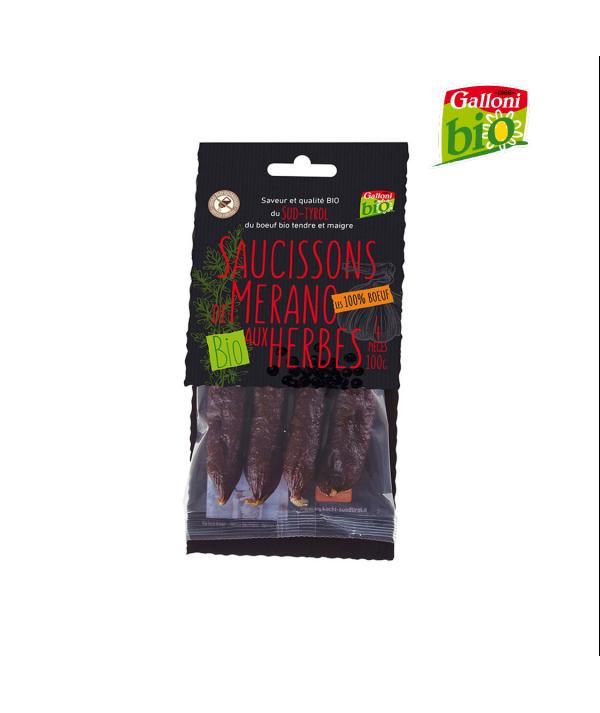 """Saucissons BIO aux herbes """"Les 100% boeuf"""" Galloni 100g"""