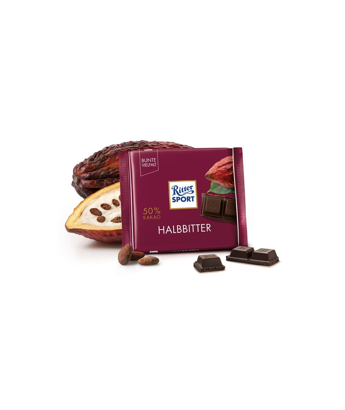 Halbbitter 50% Kakao Ritter Sport 100g