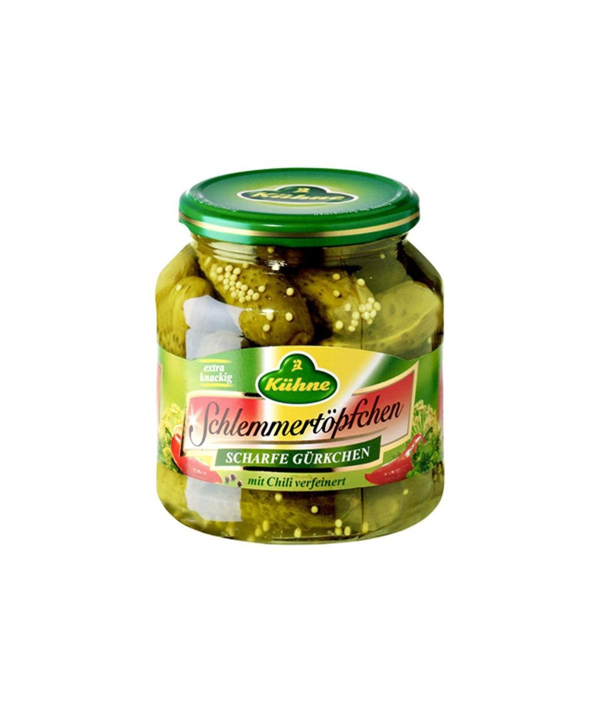 Schlemmertöpfchen scharfe Gürkchen mit Chili Kühne 580 ml