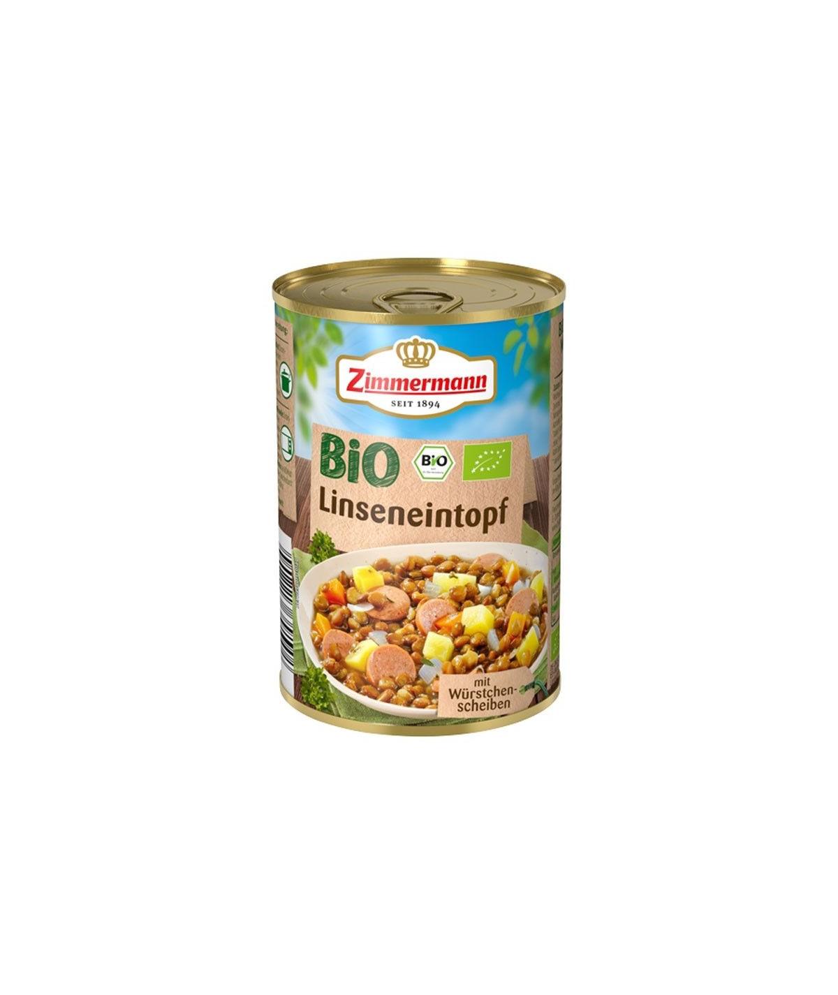 Ragoût de lentilles bio aux tranches de saucisse bio - 400g
